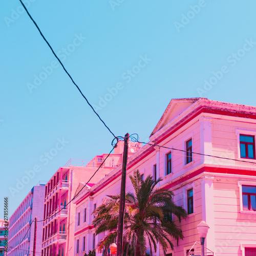 Obraz na płótnie Pink hotel and palm tree in infrared style