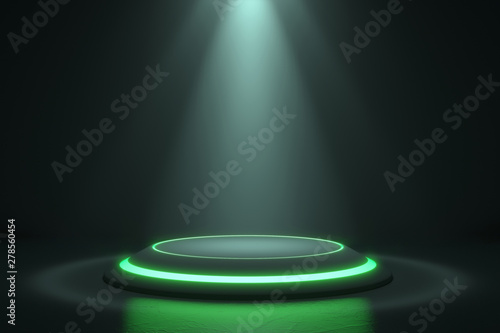 Vászonkép  Platform for design, Blank product stand with green light glow