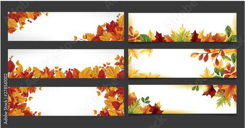 Autumn themed banner vector set Fototapet