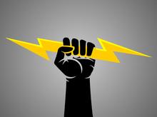 Hand Gripping Lightning Bolt