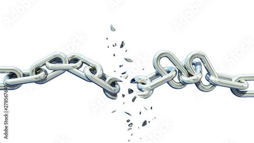 Photo broken chain isolated separation divorce broken - 3d rendering
