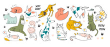 Different Pets In Various Poses. Hand Drawn Big Vector Set Of Various Dogs And Cats. Colored Trendy Illustration. Flat Design. All Elements Are Isolated