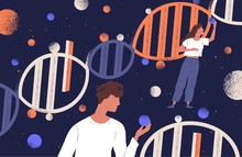 DNA Molecules, Man And Women Holding Genes. Concept Of Scientific Research In Ancestry Genetics, Genomics, Genome Mutations, Heredity Or Biological Inheritance. Flat Cartoon Vector Illustration.
