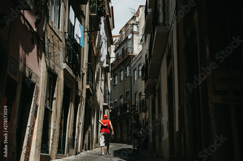A man in streets of Lisabon Canvas Print