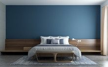 Modern Minimal Blue Wall Bedroom Interior Design Concept And Pattern Wall Background