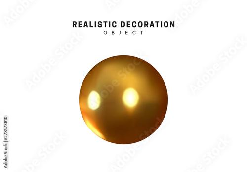 Valokuvatapetti Gold geometric shapes 3d round spherical objects
