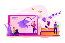 Students Preparing For Graduation Exams. Scientific Research, Online Studying. Learning Style, Memory And Knowledge, Education And Training Concept. Vector Isolated Concept Creative Illustration