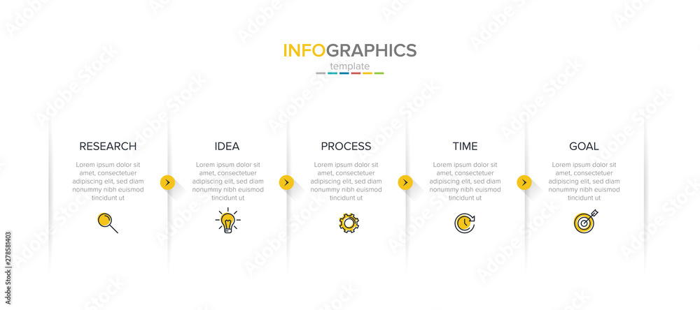 Fototapeta Vector infographic label template with icons. 5 options or steps. Infographics for business concept. Can be used for info graphics, flow charts, presentations, web sites, banners, printed materials.