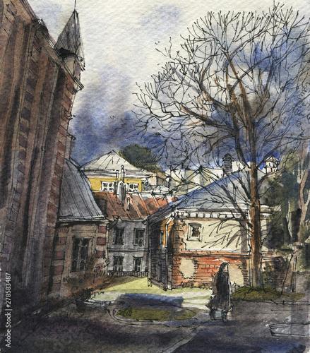 Spoed Foto op Canvas Grijze traf. City landscape. Sketch ink and watercolor. Hand-drawn illustration.