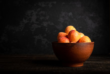 Fresh Apricots In A Basket On ...