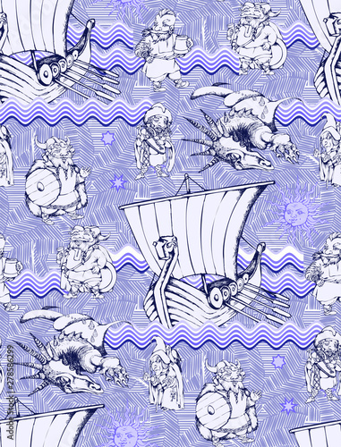 Foto op Aluminium Vogels in kooien Seamless pattern on the theme of the Vikings. Will be well to look in the design of children's room - design curtains, wallpapers, fabrics for furniture.