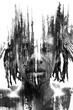 Leinwanddruck Bild - Paintography. Expressive African man combined with dramatic double exposure art techniques and hand drawn paintings