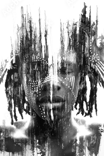 Naklejki do wnętrz  paintography-expressive-african-man-combined-with-dramatic-double-exposure-art-techniques