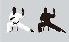 Martial Arts Fighter Silhouettes