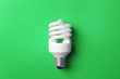 canvas print picture - New fluorescent lamp bulb on green background, top view