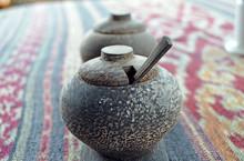 Wooden Salt Shaker. Wooden Pepper Shaker. Close-up