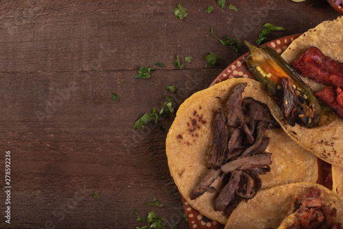 Fototapeta Tacos de Mexico, tacos carne asada, tacos de arrachera, tacos de al pastor, cultura mexicana obraz