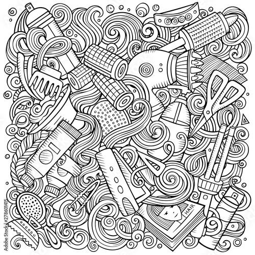Photo Hair salon hand drawn vector doodles illustration