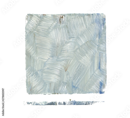 Abstract color acrylic and watercolor painting. Monotyping template. Canvas vintagecgrunge texture background. Square shape Isolated on white.