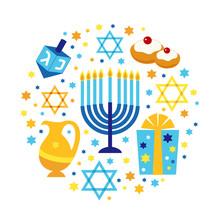 Cute Happy Hanukkah, Festival Of Lights Background In Flat Design Style
