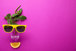 canvas print picture - Creative image of summer cocktail made with mint, glass, sunglasses, citrus slice and straw on color background, flat lay. Space for text