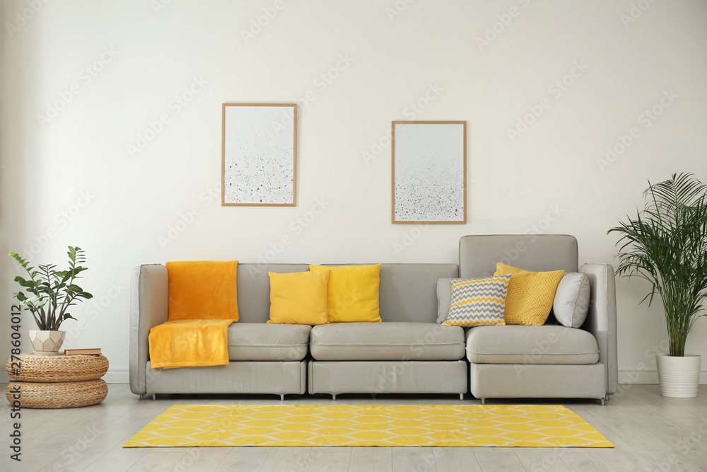 Fototapety, obrazy: Stylish living room interior with comfortable grey sofa