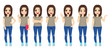 Teenager brunette girl set collection of poses with different face expressions and gestures