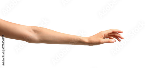 Fototapeta Young woman holding hand on white background, closeup
