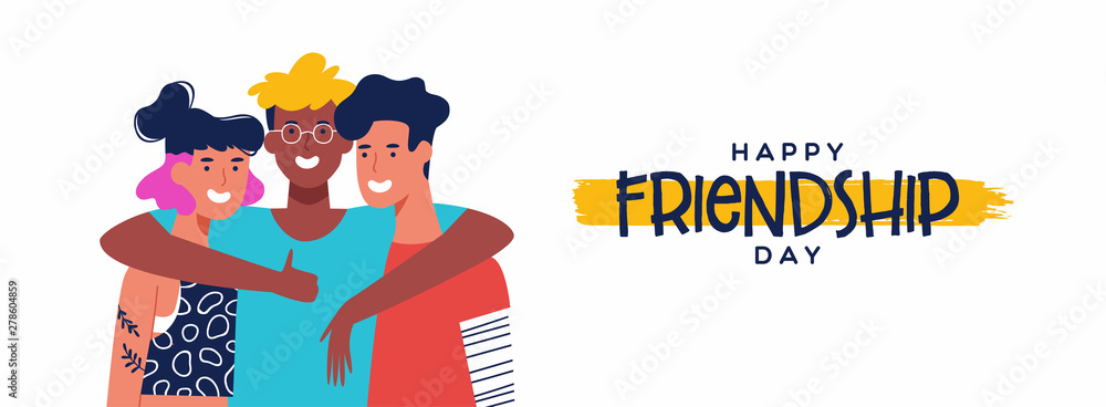 Fototapeta Friendship Day banner of three friends group hug