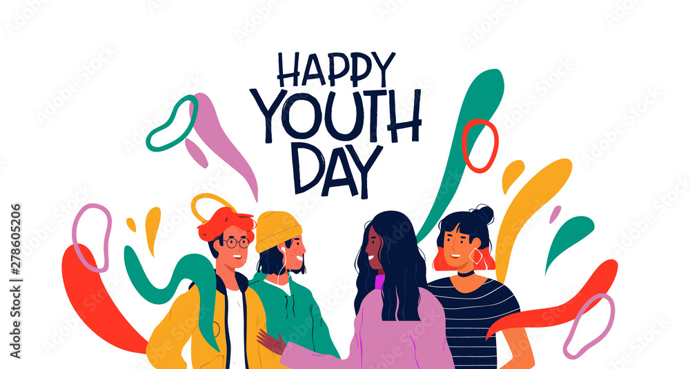 Fototapeta Happy youth day card of diverse teen friend group