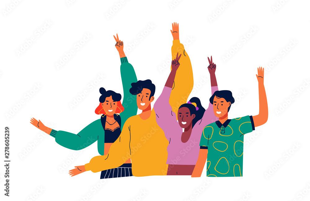 Fototapeta Happy diverse teen people group waving hello