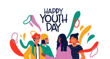 Happy Youth Day Card Of Divers...