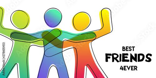 Obraz Best friends card of colorful stick figure people - fototapety do salonu