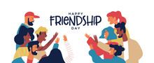 Friendship Day Banner Of Friends Doing High Five