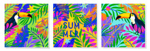 Set Of Summer Vector Illustrations With Tropical Leaves,flowers And Toucan.Multicolor Plants With Hand Drawn Texture.Exotic Backgrounds Perfect For Prints,flyers,banners,invitations,social Media