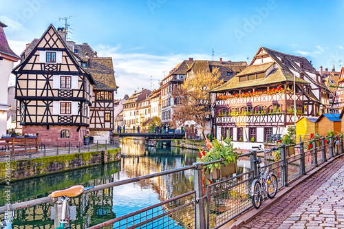 Canvas Prints Old building Traditional half-timbered houses on picturesque canals in La Petite France in the medieval fairytale town of Strasbourg, UNESCO World Heritage Site, Alsace, France.