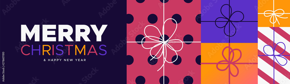 Fototapety, obrazy: Christmas and New Year banner of colorful gift box