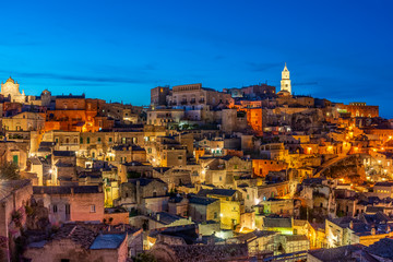 Night landscape with Matera, Italy - European capital of culture in 2019.