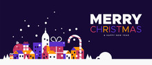 Christmas And New Year Banner Of Winter City