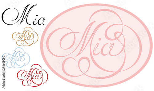 Name Mia, made in the vector for use in various purposes, from embroidery to printing business cards Canvas Print