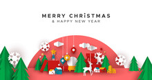 Christmas New Year Paper Holiday Landscape Card