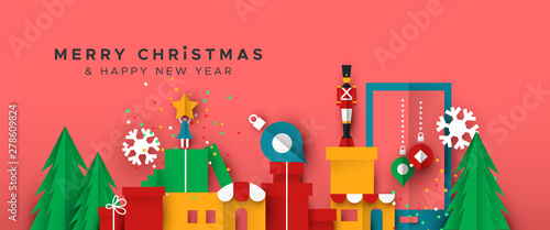 Fotografía Christmas and New Year banner of papercut toy city