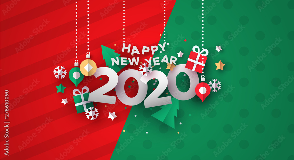 Fototapety, obrazy: New Year 2020 card of 3d holiday paper icons