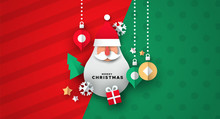 Christmas Card Of 3d Icons And Santa Ornament