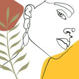 Ciągła linia, rysunek twarzy kobiety, koncepcja mody, minimalistyczna uroda kobiety z geometrycznym doodle Abstrakcyjne kwiatowe elementy pastelowe kolory. Ciągły rysunek jednej linii. ilustracji wektorowych - 278612884