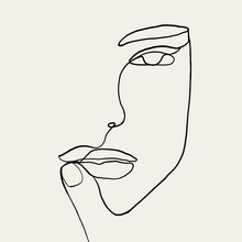 Continuous Line, Drawing Of Wo...