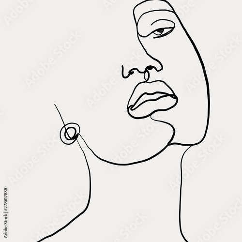 Obraz Continuous line, drawing of beauty woman face with earring , fashion concept, woman beauty minimalist, vector illustration for t-shirt slogan design print graphics style. One line fashion illustration - fototapety do salonu