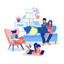 Happy Cartoon Family At Home Flat Illustration