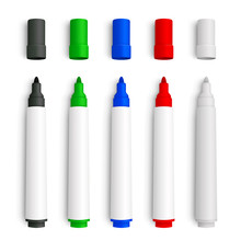 Realistic 3D Set Of Marker Pens, Red, Green, Yellow, Black And White Mackup - Stock Vector.
