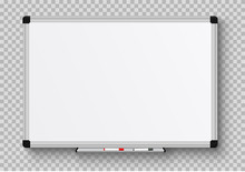 Realistic Office Whiteboard. E...